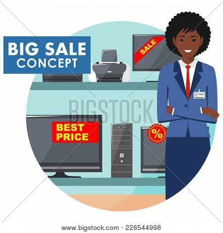 Big Sale. Detailed Illustration Of The Seller On The Background Of Shelves With Appliances In Flat S
