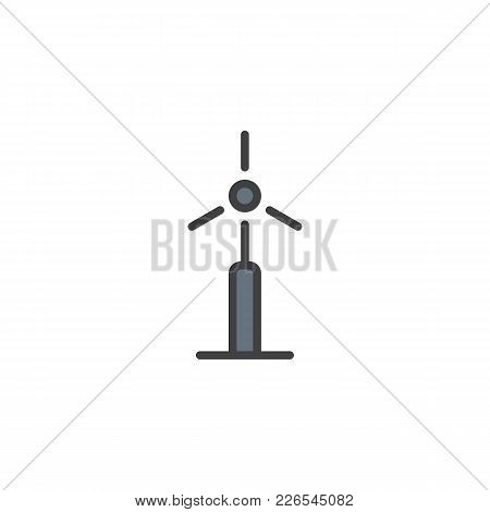 Wind Energy Turbine Filled Outline Icon, Line Vector Sign, Linear Colorful Pictogram Isolated On Whi