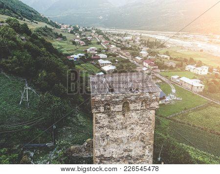 Svan tower in Mestia town, roof of svan tower, earial view. Mestia, Georgia.