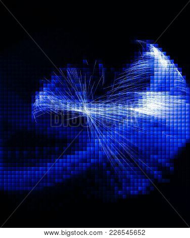Blue Techno Background. Abstract Futuristic Glowing Background