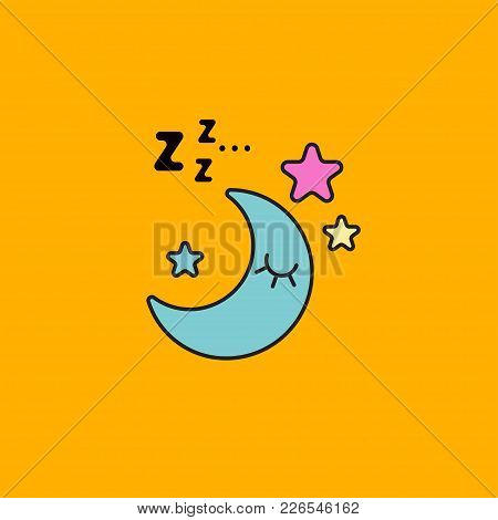 Moon Sleeping In Sky With Sound Of Z. Icon Good Night, Restful Sleep. Logo Of Insomnia Cure. Cartoon
