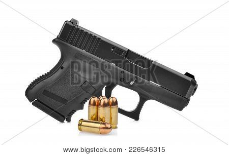 Semi Automatic 9 Mm Handgun Pistol With Ammo Isolated On White Background