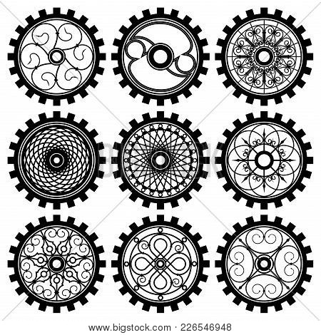 Vector Gears Set In The Style Of Steampunk