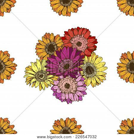 Seamless Pattern With Daisies Flower On White Background. Vector Set Of Blooming Floral For Wedding