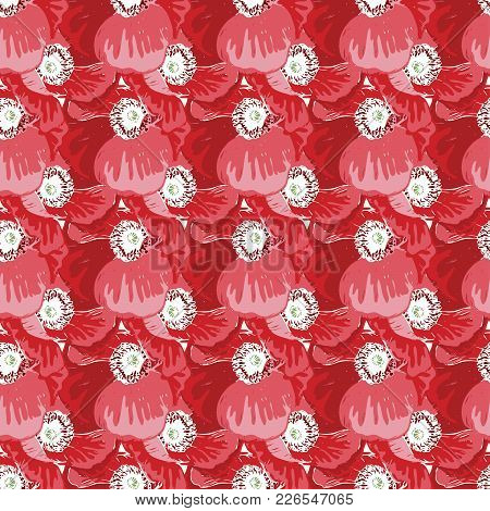 Seamless Pattern With Poppies Flower. Vector Set Of Blooming Floral For Wedding Invitations And Gree