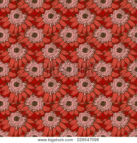 Seamless Pattern With Red Daisies Flower. Vector Set Of Blooming Floral For Wedding Invitations And