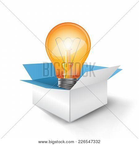 Infographic Design Template And Marketing Icons. Bulb, Box Icon.
