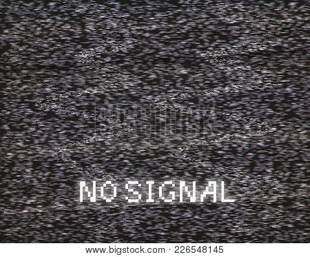 No Signal In Analog Tv Vector Illustration. Glitched Screen Distortion Dark Background