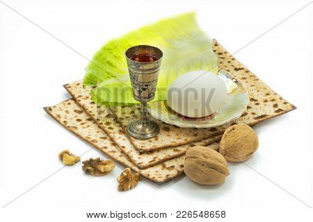 Traditional Food (matzah, Eggs, Nuts, Greens And Drink) For Jewish Passover Holiday