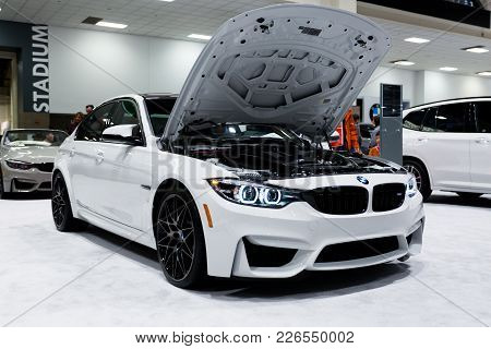 Seattle, Wa - November 12, 2017: Seattle International Auto Show. The White Bmw Car With An Open Hoo