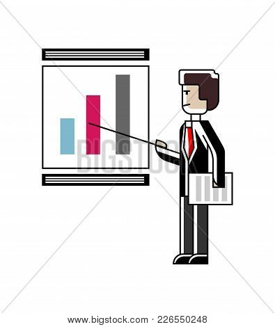 European Speaker Doing Business Presentation With Financial Diagram On Whiteboard. Corporate Busines