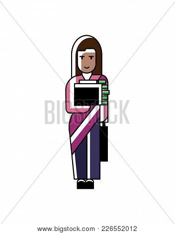 Indian Businesswoman In Saree Holds Suitcase With Money. Corporate Business People Isolated Vector I
