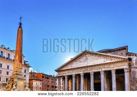 Obelisk Della Porta Fountain Piazza Della Rotunda Pantheon Rome Italy.  Fountain Created In 1575 By