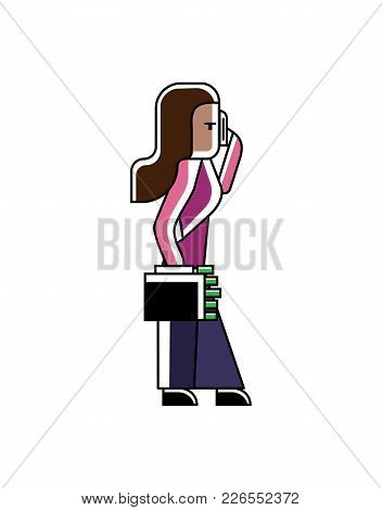 Indian Businesswoman In Saree With Money Suitcase Talking On Phone. Corporate Business People Isolat