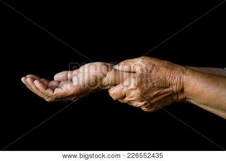 Wrist Pain On Black Background,arthritis And Bones Concept