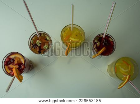 A Diferent Fruit Drinks On The Table