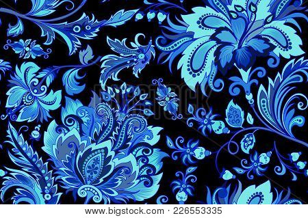 Beautiful Seamless Vintage Ornament With Bright Decorative Blue Flowers On A Black Background For De
