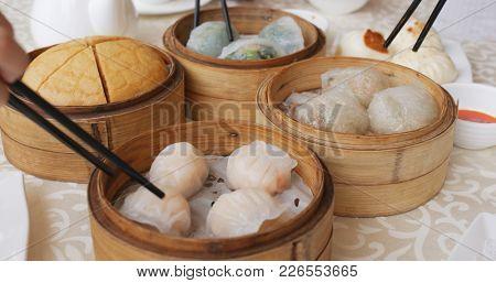 Having dim sum in chinese restaurant
