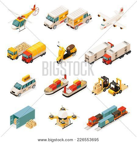 Isometric Transportation Elements Set With Cars Helicopter Trucks Airplane Scooter Ships Forklifts C