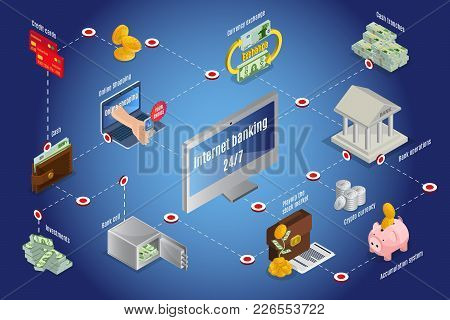 Isometric Online Cash Infographic Template With Bitcoins Piggy Bank Credit Cards Currency Exchange I