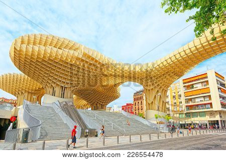 Metropol Parasol Is A Wooden Structure Located At La Encarnacion
