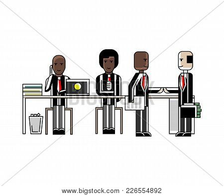 Business Meeting And Contract Conclusion African Businessmen In Conference Room. Corporate Business