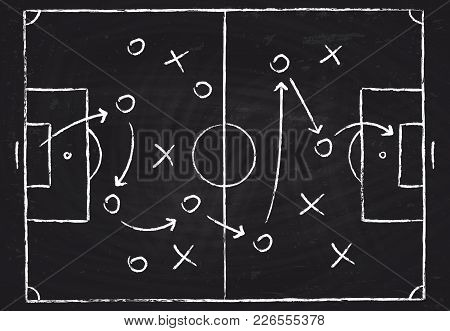 Soccer Game Tactical Scheme With Football Players And Strategy Arrows. Vector Chalk Graphic On Black