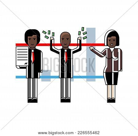 African Business Team Presenting Your Project Near Whiteboard With Financial Diagram. Corporate Busi