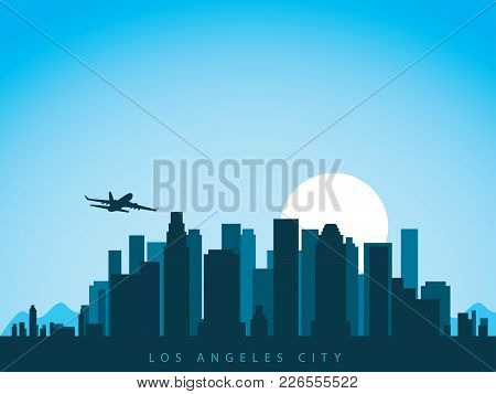 Vector Background Design City Skyline Of Los Angeles In California America With Airplane Flying Abov