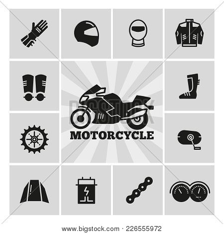 Moto Parts Motorcycle Accessories Silhouette Icons Set. Gear For Motorbike. Vector Illustration