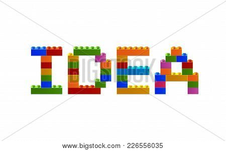 Word Idea From The Blocks Of The Constructor. A Word From The Constructor. Multicolored Words With B
