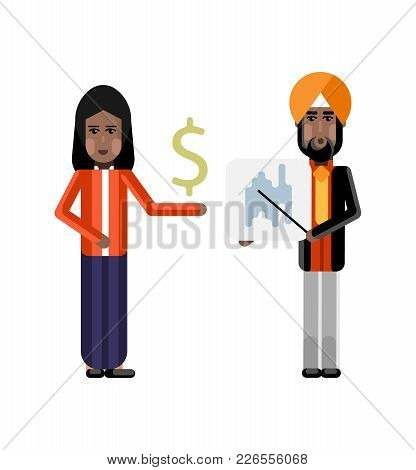 Indian Sikh Businessman In Turbine Showing Financial Diagram And Businesswoman With Dollar Sign In H