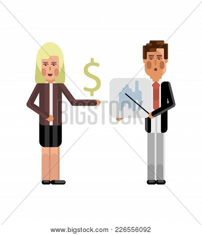 European Businessman Showing Financial Diagram And Blonde Businesswoman With Dollar Sign In Hand Iso