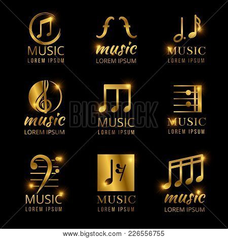 Shiny Golden Color Music Logos Set Isolated On Black. Vector Illustration