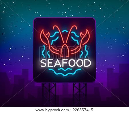 Seafood Neon Logo Icon Vector Illustration. Lobster Emblem, Neon Advertisement, Night Sign For The R