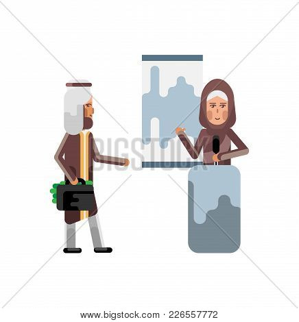 Arabic Woman On Tribune Doing Business Presentation And Investor Holding Money Suitcase Isolated Vec