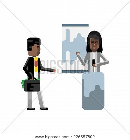 African Woman On Tribune Doing Business Presentation And Investor Holding Money Suitcase Isolated Ve