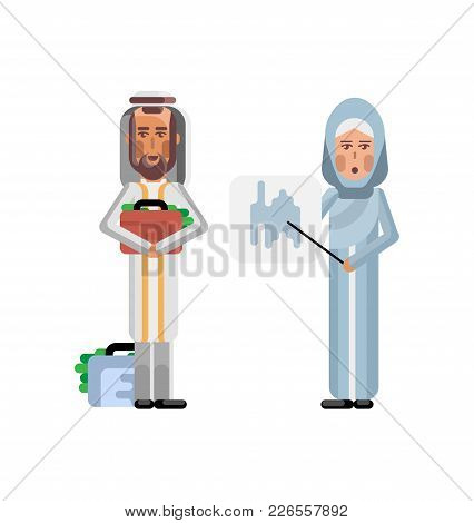 Arabic Businesswoman Showing Financial Diagram And Investor Holding Money Suitcase Isolated Vector I
