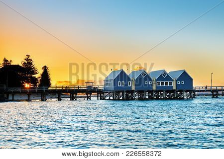 Beautiful Sunset At Wooden Busselton Jetty In Western Australia - Longest Timber Piled Jetty In The
