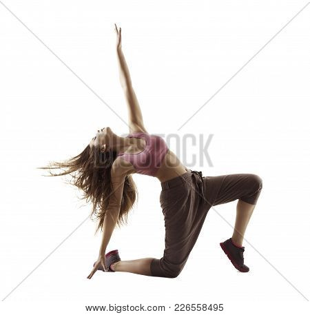 Fitness Woman Sport Dance, Girl Dancing Breakdance Gymnastic, Bending Freestyle Dancer White Isolate