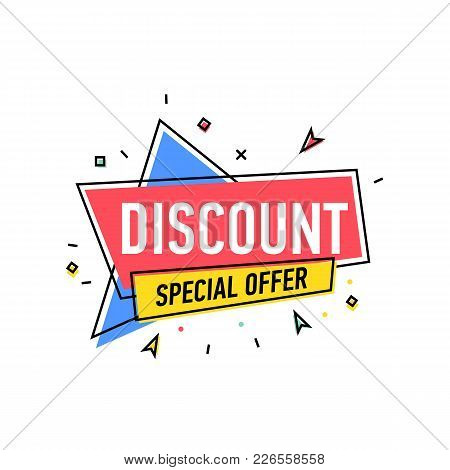 Discount Proposition Sticker In Trendy Linear Style. Retail Marketing, New Advertising Campaign, Hol