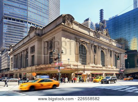New York City - April 14: Historic Nyc, Grand Central Terminal As Seen From The Street On April 14,