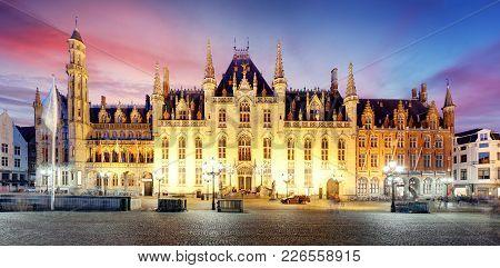 Provincial Court  - Provinciaal Hof, Market Place In Bruges, Belgium. Grote Markt