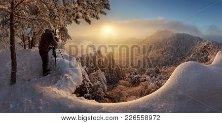 Silhouette Of Man At Panorama In Winter Mountains Landscape, Slovakia.