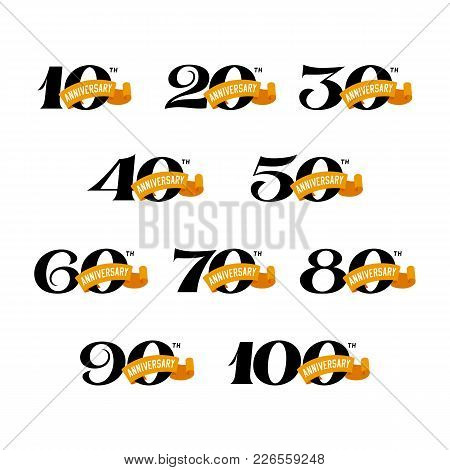 Set Of Anniversary Signs From 10 To 100. Numbers On A White Background. Stock Vector Signs Design El