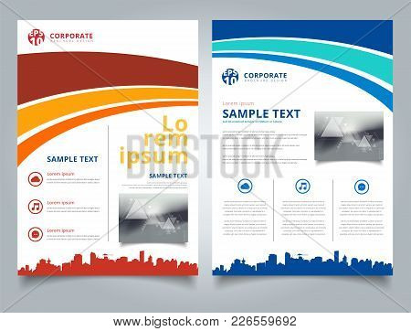 Brochure Template Blue And Red Curve Line Graphic With Cityscape Footer And Simple Text. Business Bo