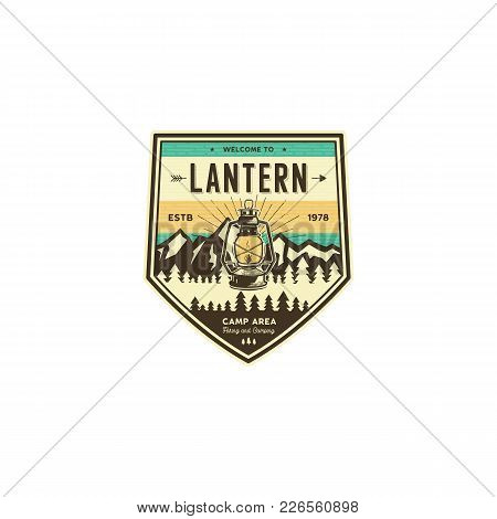 Camping And Hiking Vintage Badge. Mountain Explorer Label. Outdoor Adventure Logo Design With Lanter