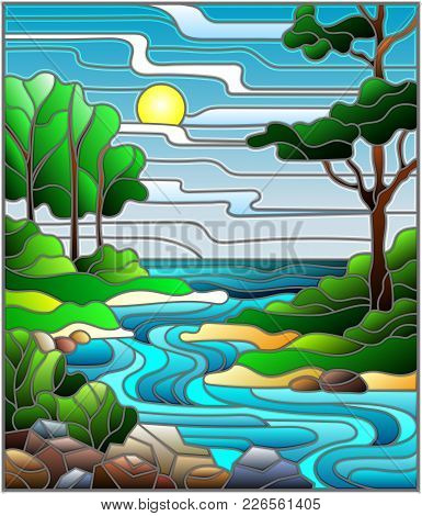 Illustration In Stained Glass Style Landscape, Meandering River On The Background Of The Green Banks