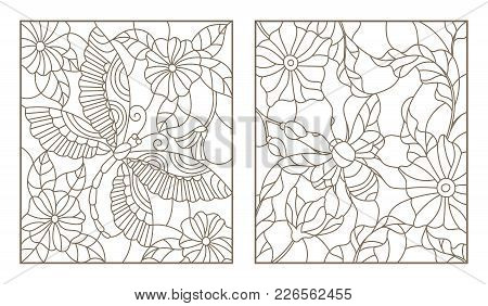 Set Contour Illustrations Of Stained Glass Bee And Dragonfly On The Background Color, Dark Outline O