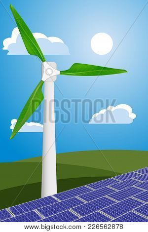 Vector Illustration Of Wind Turbine With Green Leaves And Solar Panels For Generating Environmental